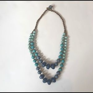 Noonday Collection blue layered paperbead necklace